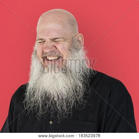 Men Adult Long Beard Bald Head Smile