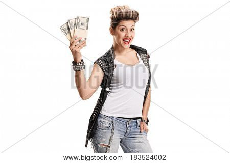 Joyful punk girl with bundles of money isolated on white background