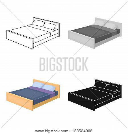 Bed icon in cartoon design isolated on white background. Sleep and rest symbol stock vector illustration.