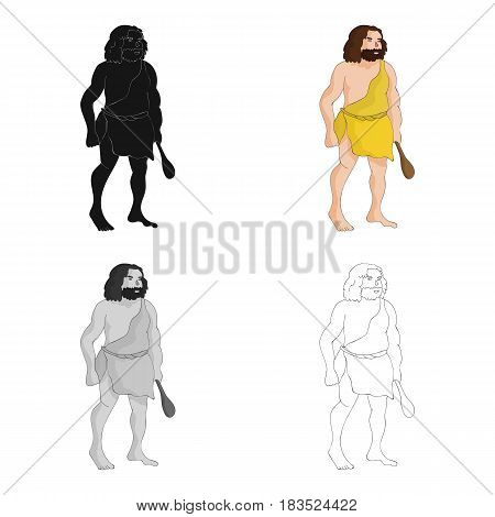 Primitive man with truncheon icon in cartoon style isolated on white background. Stone age symbol vector illustration.