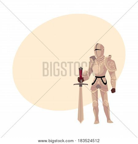 Medieval knight in decorated metal suits of armor holding big sword, cartoon vector illustration with space for text. Full length portrait of medieval heavy armored knight with sword