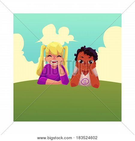 Two kids, black African boy and Caucasian girl, lying on grass under summer sky, colorful cartoon vector illustration. Teenage kids, children, black and white, lying on grass together, enjoying summer