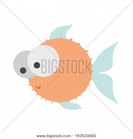 light colours silhouette of blowfish with big eyes vector illustration