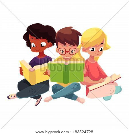 Three children, boys and girls, reading interesting book sitting with crossed legs, cartoon vector illustration isolated on white background. Kids, boys and girls, Caucasian and black, reading books