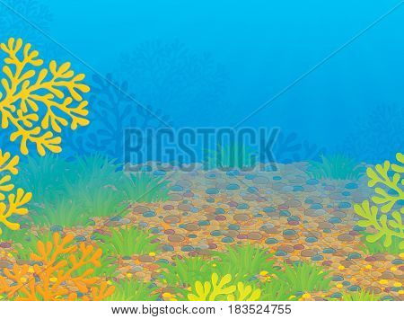 Tropical coral reef. Colorful illustration of a sea bottom with corals and water plants