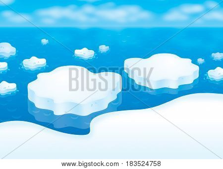 Drifting ice floes. Illustration of ice in a blue winter polar sea