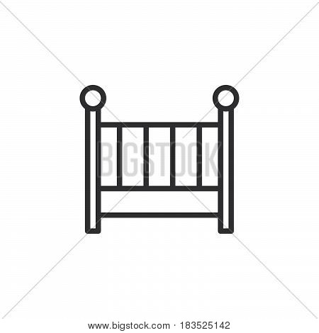 Cot crib line icon outline vector sign linear style pictogram isolated on white. Symbol logo illustration. Editable stroke. Pixel perfect