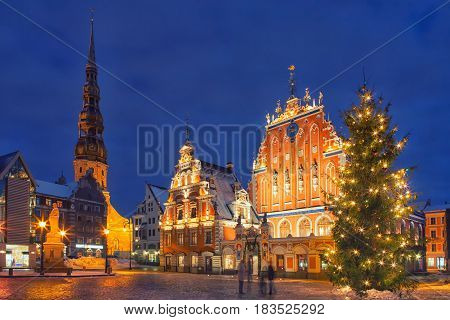House of Blackheads and the Christmas tree near it during the Christmas season in Riga, Latvia