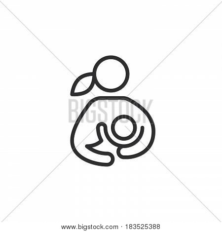 Breast feeding woman breastfeeding her child line icon outline vector sign linear style pictogram isolated on white. Symbol logo illustration. Editable stroke. Pixel perfect