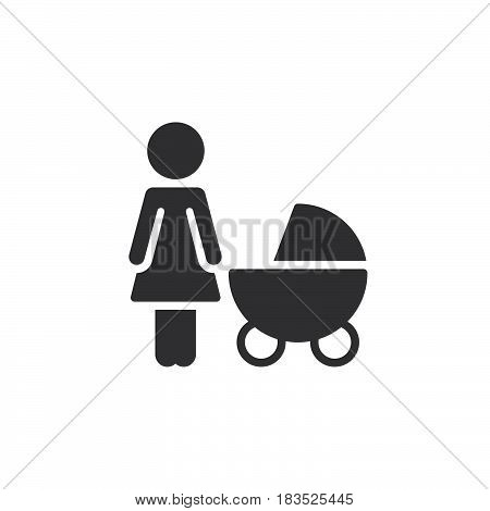 Mother with baby pram icon vector filled flat sign solid pictogram isolated on white. Symbol logo illustration. Pixel perfect