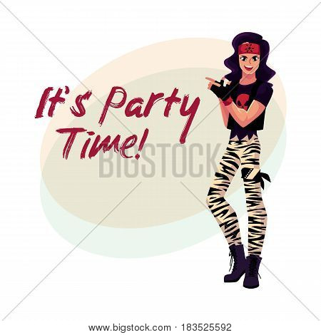 Glam rock party invitation, banner poster template with young man dressed in skull t-shirt, cartoon vector illustration. Glam rock party invitation banner, poster layout with rock star man