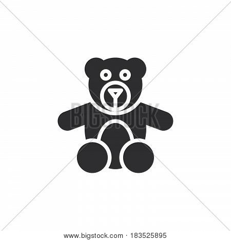 Teddy bear toy icon vector filled flat sign solid pictogram isolated on white. Symbol logo illustration. Pixel perfect
