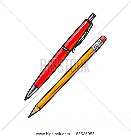 Simple hand drawn ball point pen and pencil, office supplies, sketch style vector illustration isolated on white background. Realistic hand drawing of red school pen and yellow graphite pencil