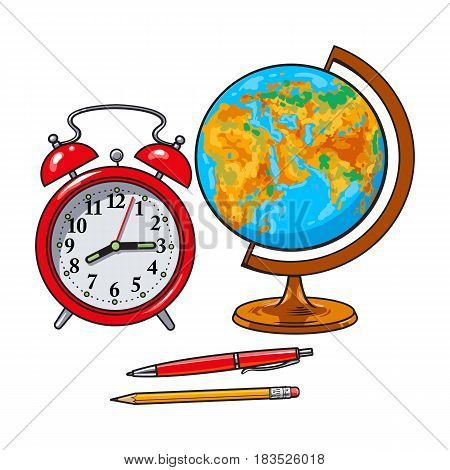 Retro alarm clock, school globe, pen and pencil, student accessories, sketch style vector illustration isolated on white background. Realistic hand drawing of alarm clock, retro globe, pen and pencil