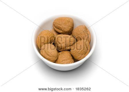 Bowl Of Walnuts On White I