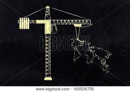 Construction Tower Crane Lifting Up World Map