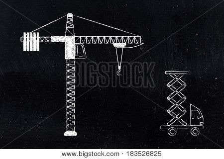 Tower Crane And Construction Truck
