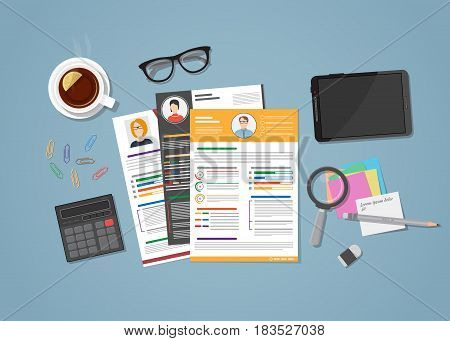 Flat realistic colored CV resume in various style. Workspace with distributed office objects on it. Tea cup tablet glasses with calculator magnifier and paper notes.