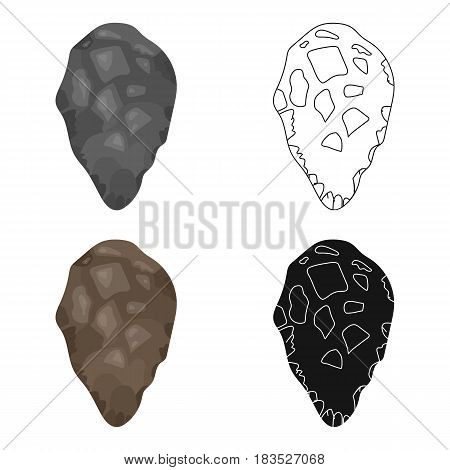 Stone tool icon in cartoon style isolated on white background. Stone age symbol vector illustration.