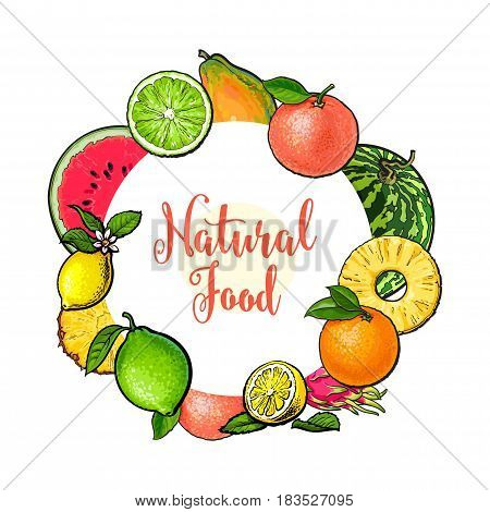 Round frame of tropical fruits with place for text, sketch vector illustration on white background. Hand drawn tropical, exotic fruits as round frame, label, banner template, decoration element