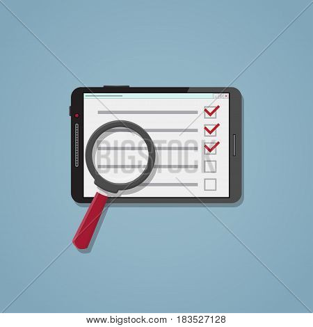 Flat realistic business checklist and planning concept. Tablet with list and red checkmark. Application with the function of searching for outstanding items.