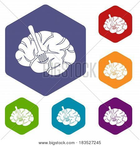 Fork is inserted into the brain icons set hexagon isolated vector illustration