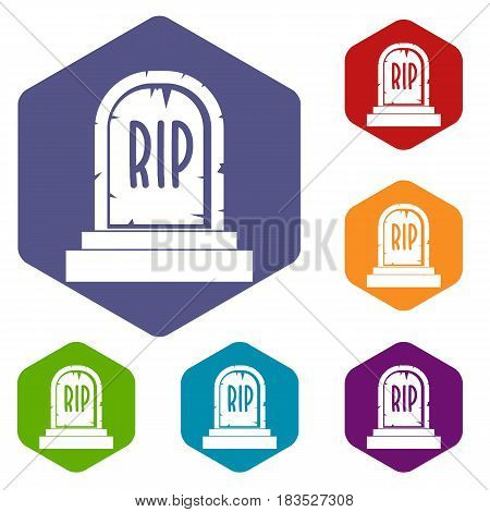 Gravestone with RIP text icons set hexagon isolated vector illustration