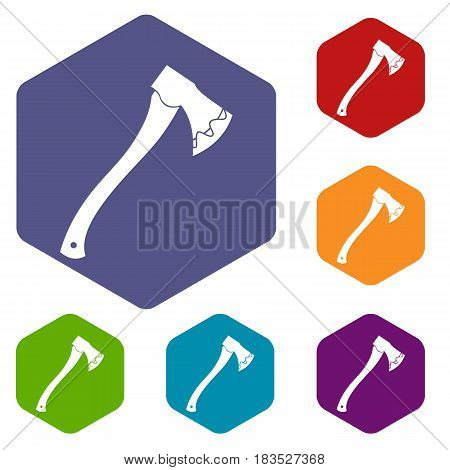Axe In blood icons set hexagon isolated vector illustration