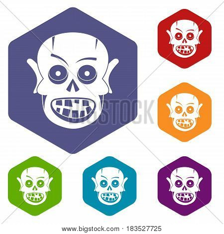 Living dead icons set hexagon isolated vector illustration