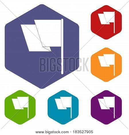 Flag icons set hexagon isolated vector illustration