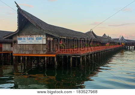 Semporna,Sabah-Apr 21,2017:View of Floating Resort in the morning at Semporna,Sabah,Borneo.Semporna is a gateway for diving & snorkeling trips to the islands of Sipadan,Mabul,Mataking,Maiga & others