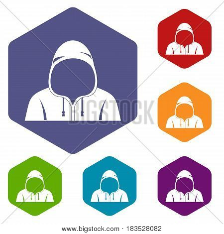 Hood icons set hexagon isolated vector illustration