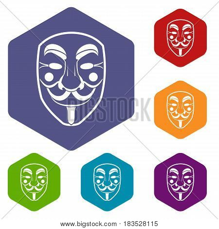 Vendetta mask icons set hexagon isolated vector illustration