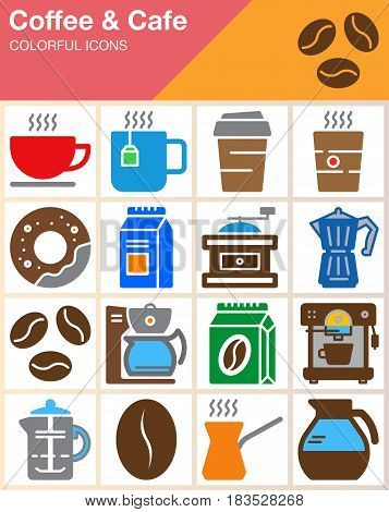 Coffee and Cafe vector icons set modern solid symbol collection filled colorful pictogram pack isolated on white. Signs logo illustration web graphics