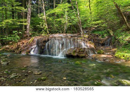 Mountain stream waterfall. Bigar mountain waterfall, Romania