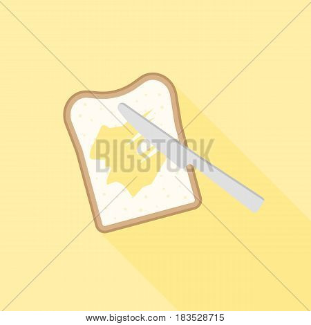 Slice of toast bread with knife spreading butter or margarine, flat design vector