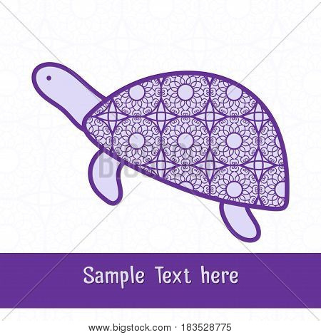 Paper cutting card.Decorative openwork turtle. Can be used for laser or plotter cutting