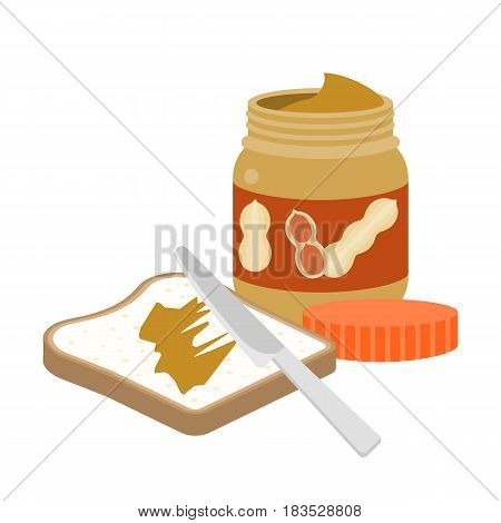 Slice of toast bread with peanut butter and knife, flat design vector