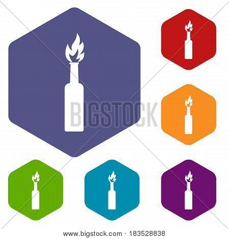 Burning bottle icons set hexagon isolated vector illustration