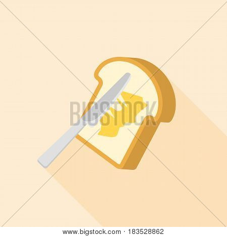 knife spreading butter or margarine on toast bread icon with long shadow