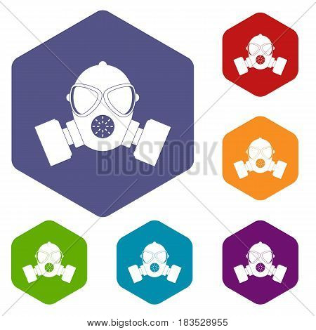 Respirator icons set hexagon isolated vector illustration