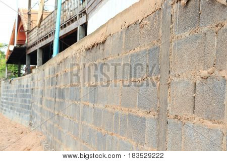 Wall made of cement blocks in Thailand.