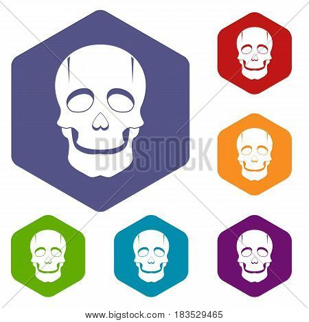 Singer mask icons set hexagon isolated vector illustration