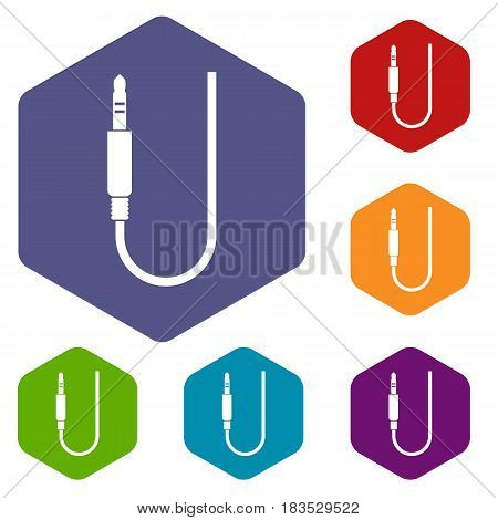 Microphone wire icons set hexagon isolated vector illustration