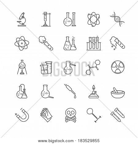 Thin line hemistry vector icons set for your design