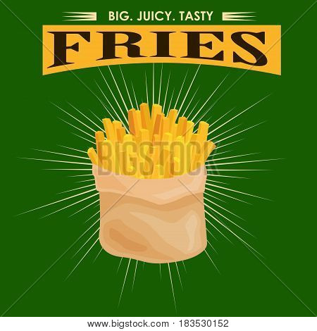 French Fries, unhealthy fast food snack potato isolated vector illustration.