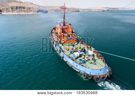 Slavynka Russia - April 16th 2017: Port Slavynka a sea tow the top view.