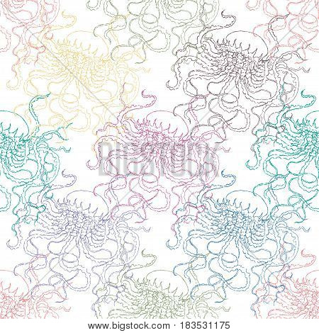 Vector illustration of medusa with on a white isolated background in seamless pattern