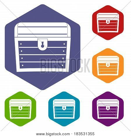 Chest icons set hexagon isolated vector illustration