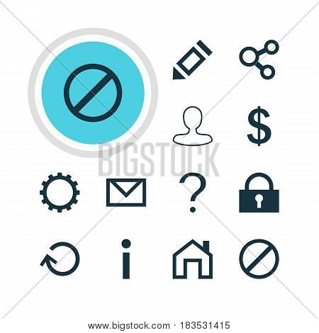 Vector Illustration Of 12 Interface Icons. Editable Pack Of Publish, Pen, Renovate And Other Elements.